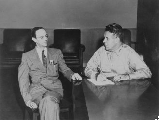James Chadwick (left) with Major General Leslie R. Groves, Jr., the director of the Manhattan Project.