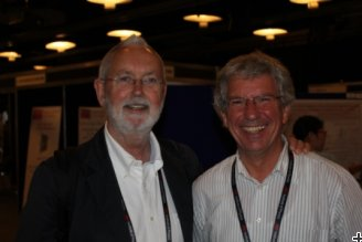 Colin Carlile (ESS) and Winfried Petry (FRM II) at the exhibition hall