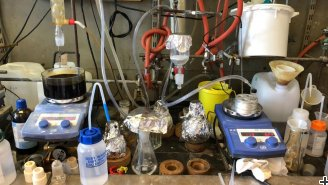 Working in the lab can be a bit messy